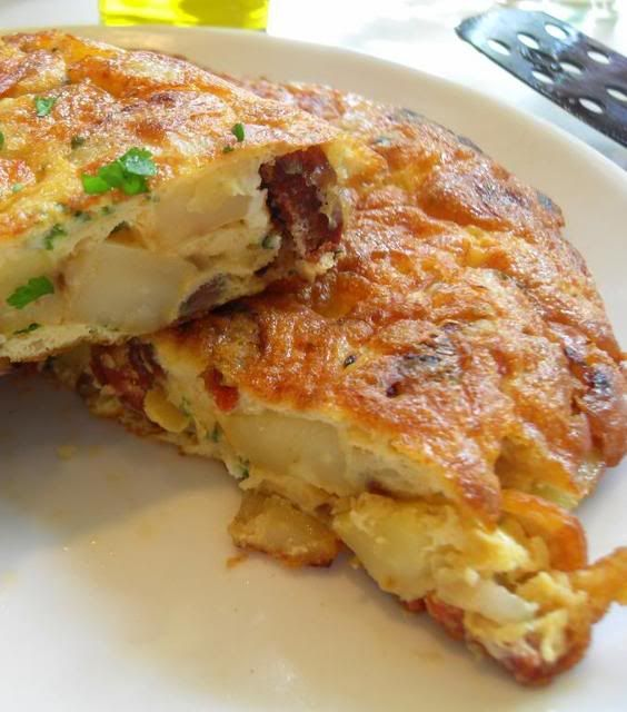 Spanish Tortilla with Chorizo ~ It is a thick eggy omelet kind of ...