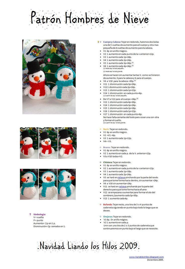 Muñecos de Nieve Amigurumi - Patrón Gratis en Español aquí: http://liandoloshilos.blogspot.com.es/2009/12/patron-hombres-de-nieve.html