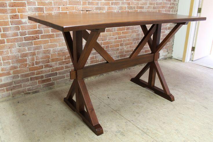 Custom bar height farm table for kitchen island by for Farmhouse counter height table