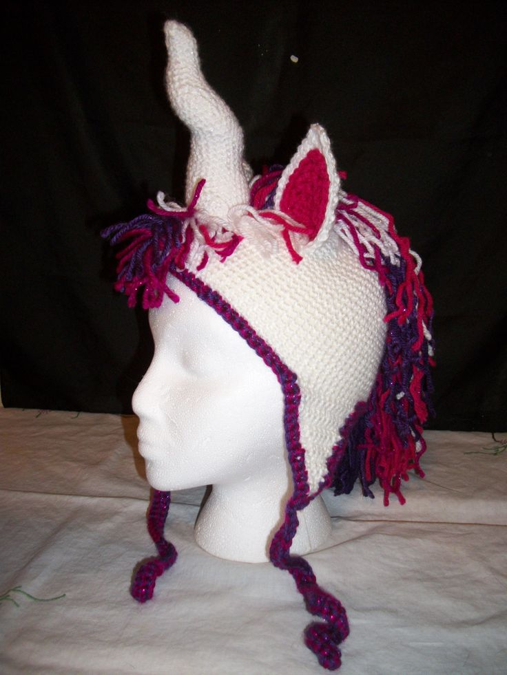 Crochet Unicorn Horn : Crochet Sparkly Unicorn Hat with Spiral Horn