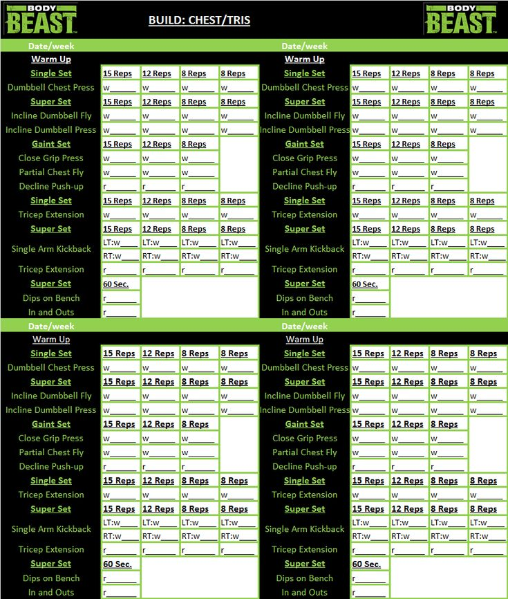 Body Beast workout tracker sheet | I work out! | Pinterest