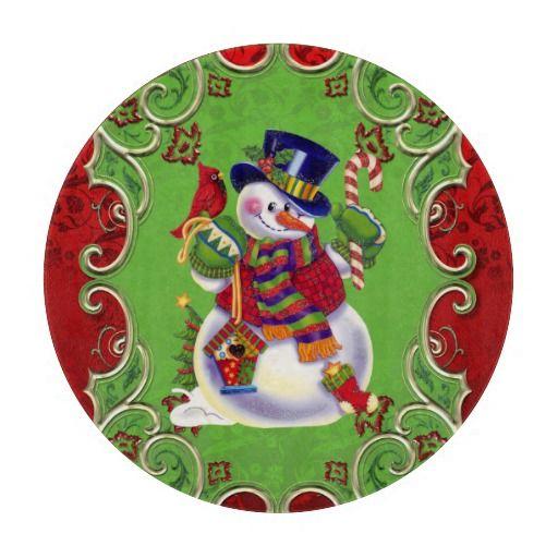 Christmas Snowman Glass Cutting Board