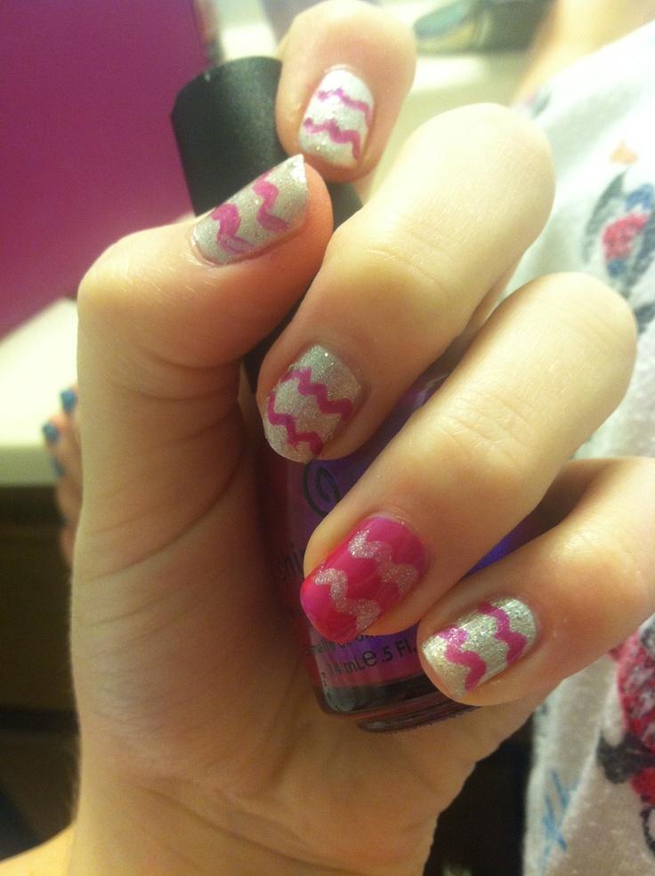 purple and silver nail design.