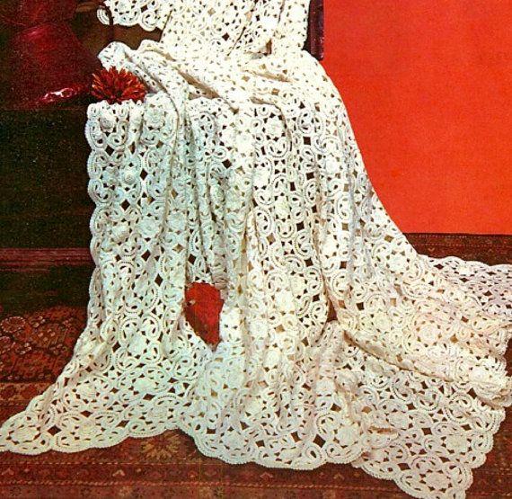 Irish Crochet Lace Shawl Pattern : INSTANT DOWNLOAD- Vintage irish Crochet shawl/throw ...