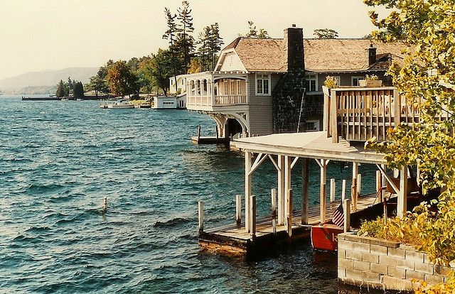 Boat house on lake george lake houses pinterest for Upstate new york houses