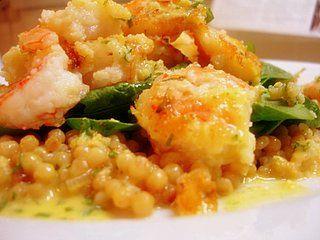 Crispy Shrimp with ginger-orange sauce on toasted israeli couscous