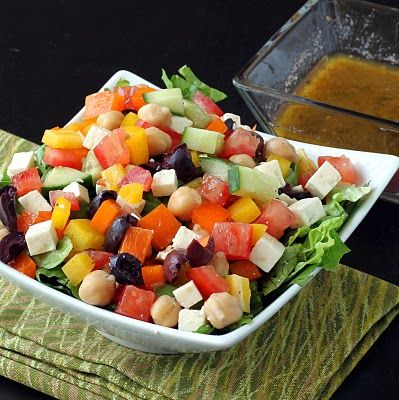 Chopped Greek Salad & Homemade Dressing | Favorite Recipes | Pinterest