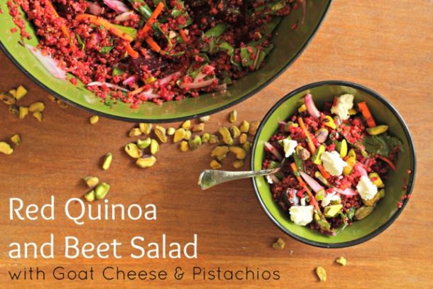 Red Quinoa and Beet Salad with Goat Cheese and Pistachios | Recipe