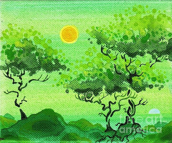 """My Painting"""" by Dan Keough Beautiful use of greens; trees; landscape"""