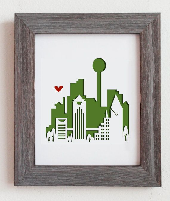 Unique Wedding Gifts Dallas : Dallas Texas. Personalized Gift or Wedding Gift by Cropacature, USD28.00