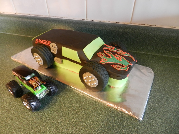 made this monster jam vanilla and oreo crumb cake. monster truck cake
