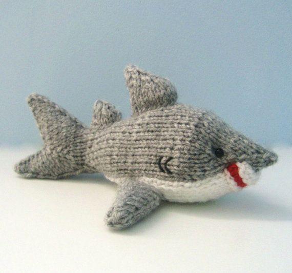 Amigurumi Knit Patterns : Amigurumi Knit Shark Pattern Digital Download