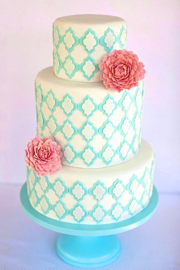 Красивая свадебный торт <3 # свадьба # торт # бирюзовый # цветок # коралл # подробнее