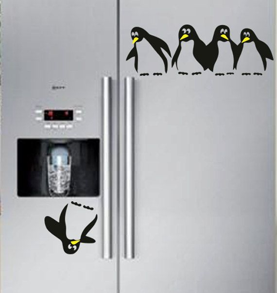 Save the Penguin Double Door Fridge Decal by decaltopia on Etsy