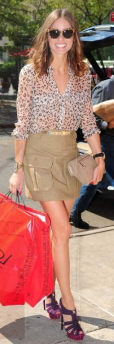 Skirt – Mulberry, Sunglasses – Wunderkind, Purse and top – Reiss, Shoes – Charlotte Olympia (2011)