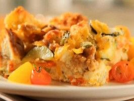 Sausage-Zucchini Strata from CookingChannelTV.com Think I'll make this ...