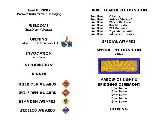 cub scout blue and gold program template - pin by arlene bennett on cub scout stuff pinterest
