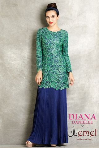 Embroidered Lace Baju Kurung with Pleated Skirt http://www ...