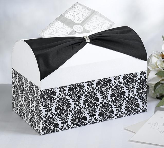 Elegant Wedding Gift Card Box : Black & White Damask Wedding Gift Card Box Reception Bridal Elegant
