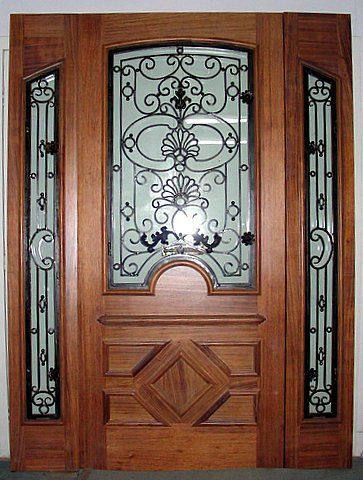 Country Style Wood With Iron Front Door Forged Wrought I