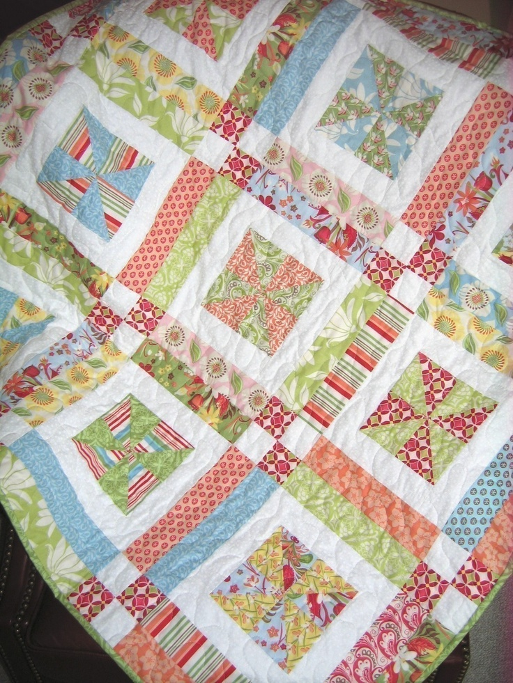 Easy Quilt Patterns Using Layer Cakes : QUILT PATTERN , Baby or Lap .... Easy...one Layer cake or Fat Quarter?