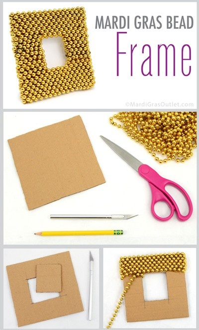 Repurpose Mardi Gras Beads; ideas and tutorials, all you need is cardboard and glue!