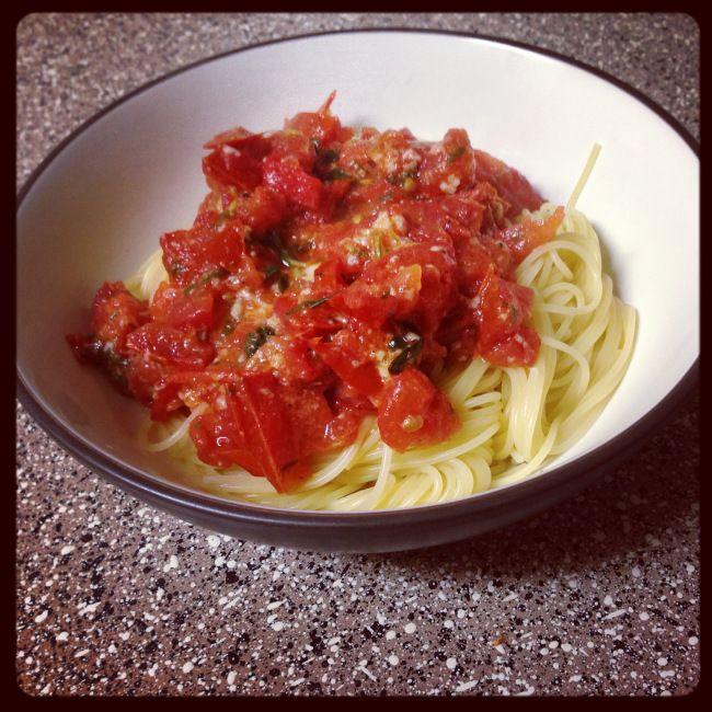 Pasta with Fresh Tomato Sauce I sometimes add kalamata olives, feta ...