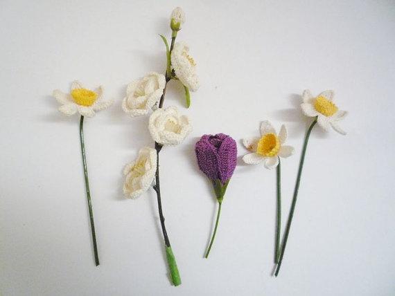 Vintage Handmade Crochet Bouquet