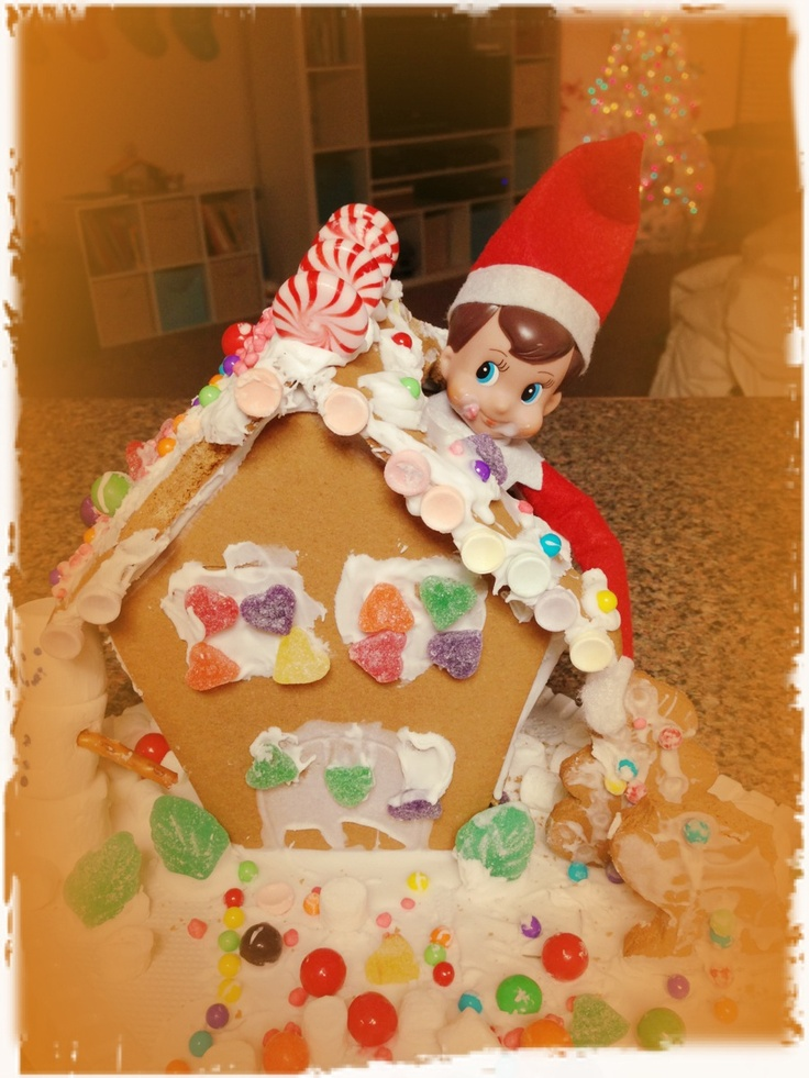 Elf ate through our gingerbread house! | Elf on a Shelf | Pinterest