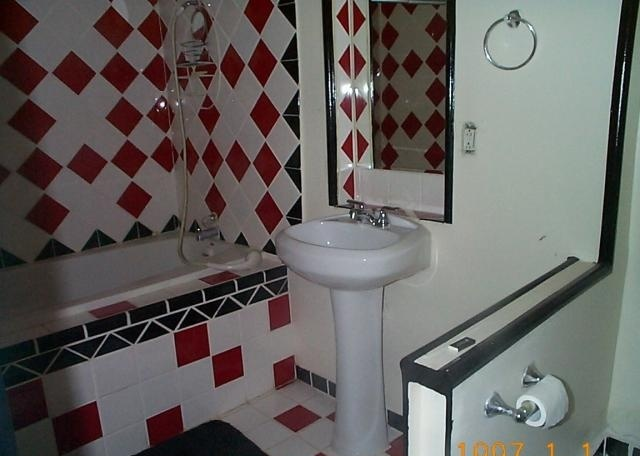 black red white bathroom bath pinterest: bathroom black red white
