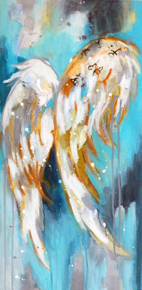12x24 Acrylic Angel Wings on Gallery by HannahLanePaintings, $435.00