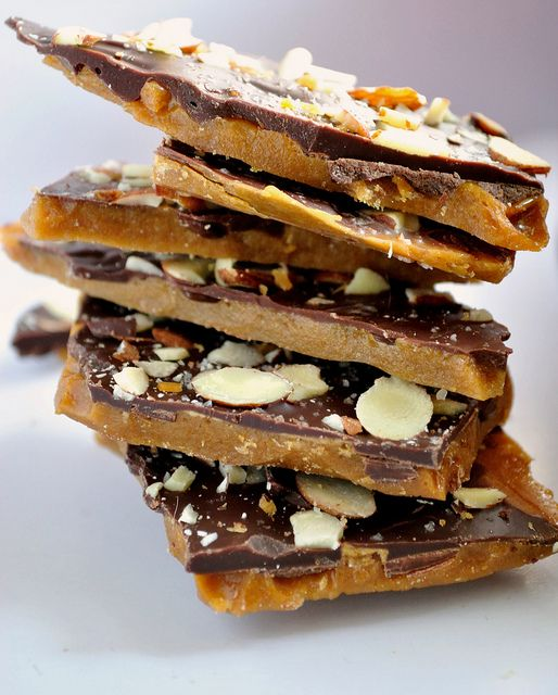salted chocolate almond toffee bars | Recipes | Pinterest