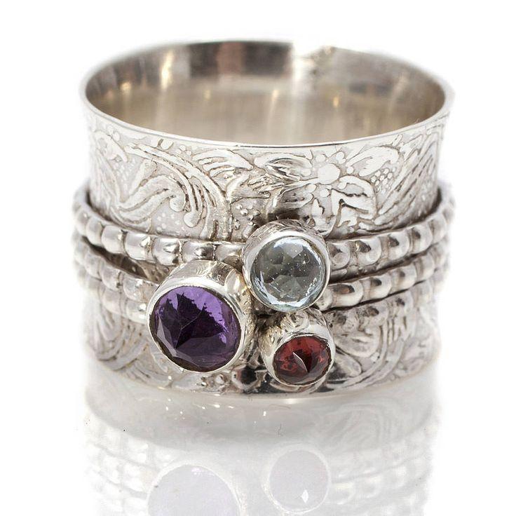 handmade gemstone silver spinning ring