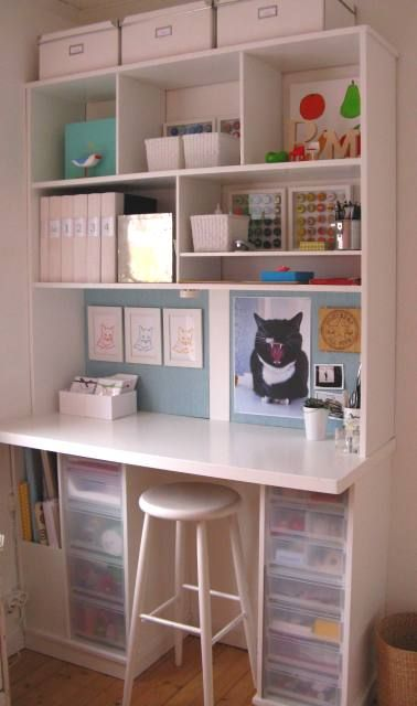 A scrapbooking workstation. Pros: very clean and straightforward.  Cons: Small worksurface, not much room to set aside an in progress project while you work on a different one.