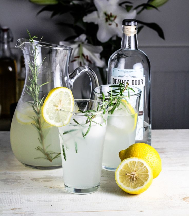 Lemon-Rosemary Gin Fizz with Cucumber Sorbet {Katie at the Kitchen ...