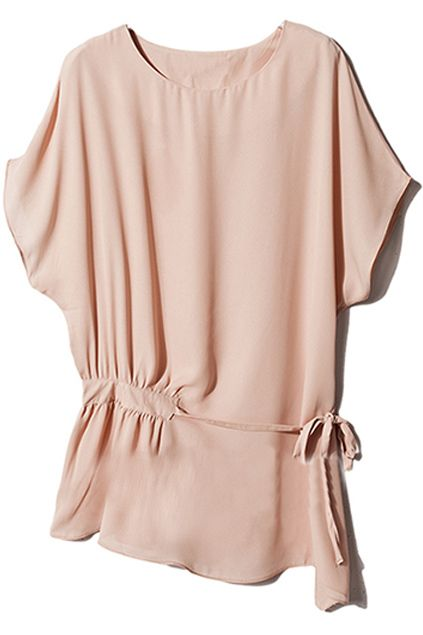 Oblique hem elastic side pink blouse fashion our style pinterest