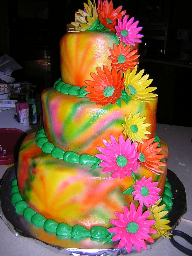 tie dye wedding cakes