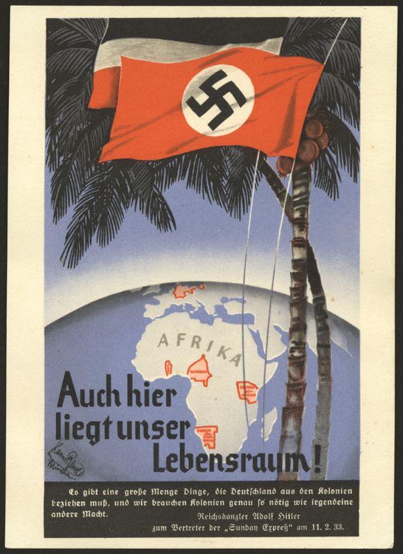 German poster: Auch hier liegt unser Lebensraum! (Our natural habitat lies here also!)