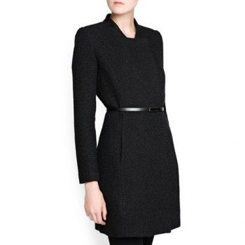Cheap wholesale modern and simple stand collar black slimming overcoat