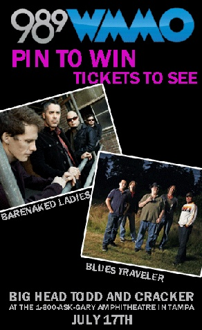 Pin to Win Tickets to see Barenaked Ladies, Blues Traveler, Big Head Todd and Cracker! Just repin this and we'll pick a random winner on Monday 3/26