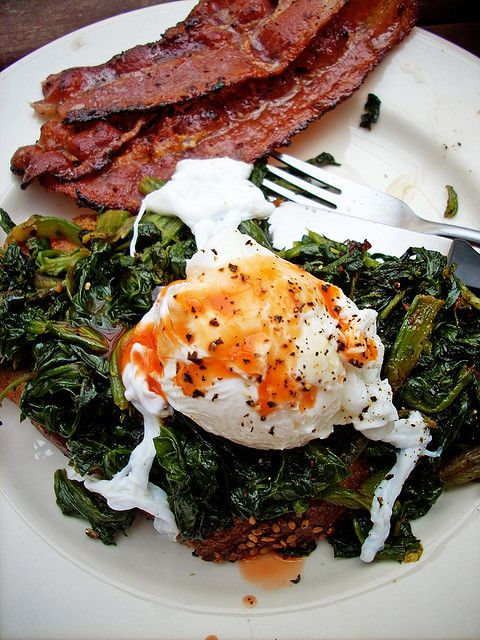 PROTEIN PUMP UP- poached egg, spinach and bacon (turkey)