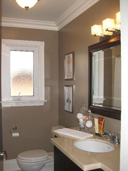Nice small taupe bathroom bathroom makeover pinterest for Nice small bathrooms