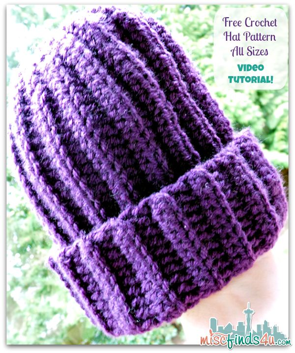 Crochet How To Video: Free Hat Pattern for Using Up Scrap Yarn -