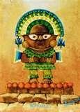 21 – NAYLAMP. Desembarcaron en un río en el que los cronistas llaman Faquisllanga (Lambayeque) y construyen sus palacios y templos en Chot (Huaca Chotuna) tienen una representación divina de Naylamp, es un ídolo de piedra verde (malaquita)  y era llamado Yampallec. Las alas que le crecen al morir estarían representadas en el tumi de Illimo.