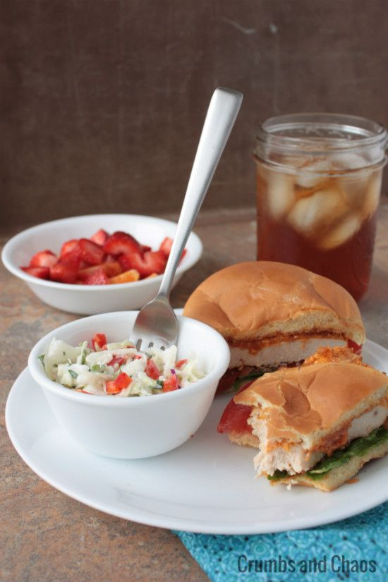 Spicy Chicken & Bacon Sandwich w/Buttermilk Cilantro Slaw from Crumbs ...
