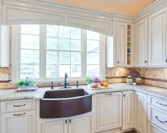 White kitchen with copper sink  Kitchens  Pinterest