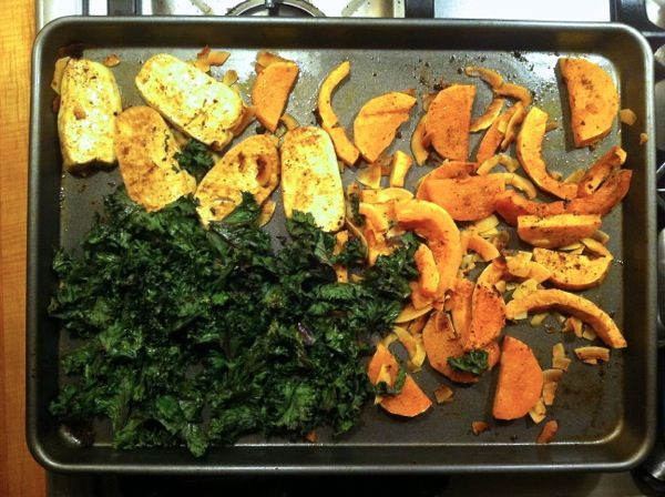 Spicy Roasted Butternut Squash, Tofu & Kale bowl
