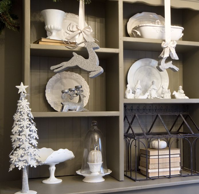 Gray and White Hutch decorated for Christmas