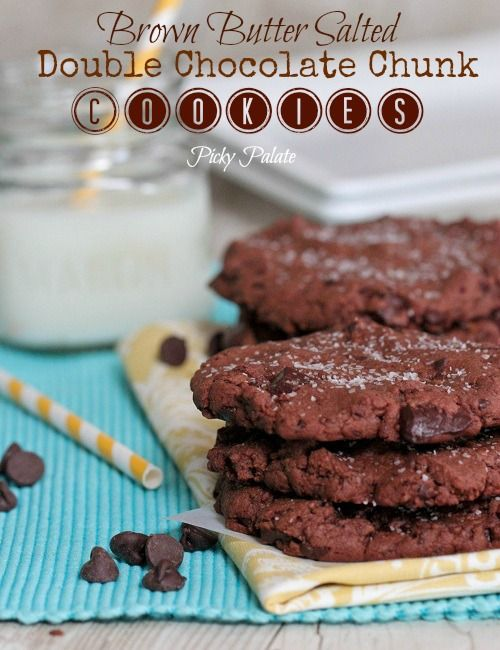 Brown Butter Salted Double Chocolate Chunk Cookies by Picky Palate
