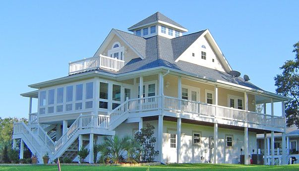 Minus the observation deck beach house pinterest for Beach house plans with decks